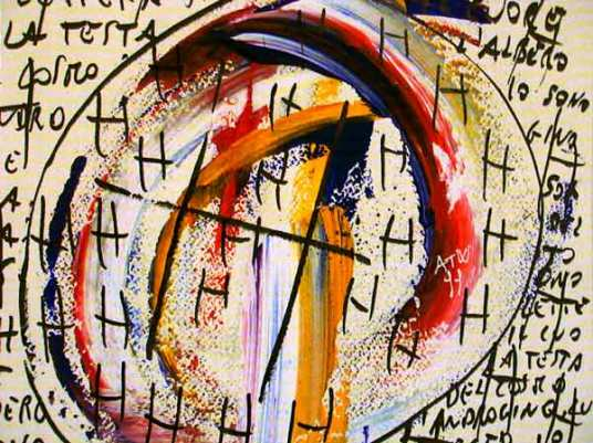 Angelo Tonelli, Vangelo di Lux (particolare), acrilico e pennarello indelebile su cartoncino bianco