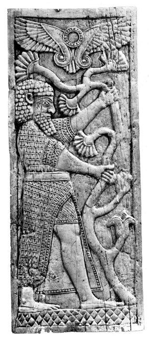 Pannello in avorio dal vano SW7 del Fort Shalmaneser di Nimrud (da Mallowan - Herrmann 1974).