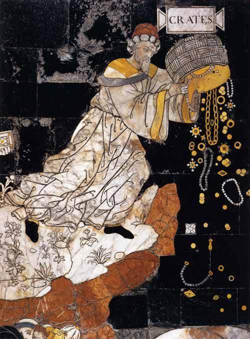 Pinturicchio, Allegoria del Monte della Sapienza (particolare: Cratete), Siena, Duomo