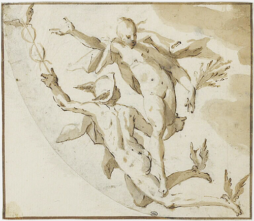 Hans von Aachen, Mercury and Ceres flying through the air, Penna d'oca marrone. 15.3 × 17.7 cm.  Parigi, Musée du Louvre.