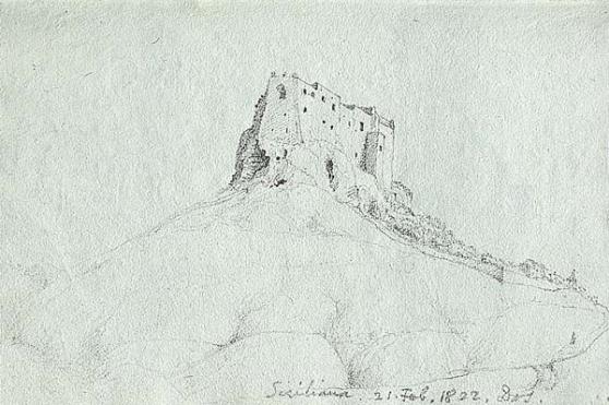 Siculiana [Castello Chiaramonte]. Schizzo originale di James Hall