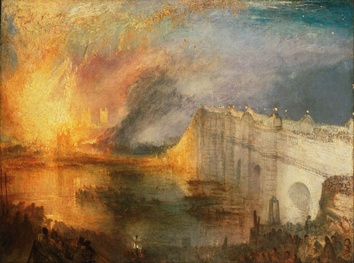 J.M.W. Turner, The Burning of the Houses of Lords and Commons, olio su tela, 1834