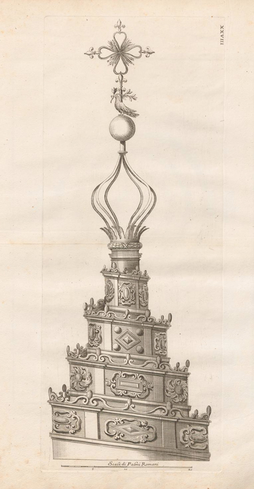 """Francesco Borromini, Lanterna spiraliforme di Sant'Ivo alla Sapienza (metà Seicento). Incisione tratta dal volume di Sebastiano Giannini sulla """"fabrica della Sapienza di Roma"""", pubblicato nel 1720."""