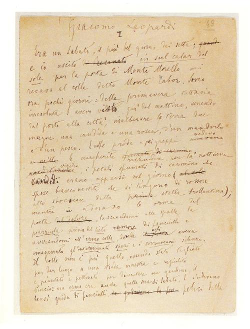 """""""Il Sabato"""", Abbozzi autografi. (Foto Borghesi, Fornaci di Barga - Lucca)"""
